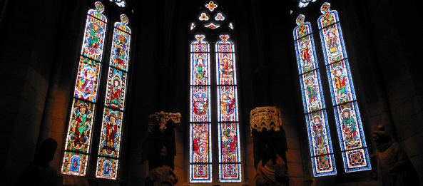 inside the cloisters - vitral